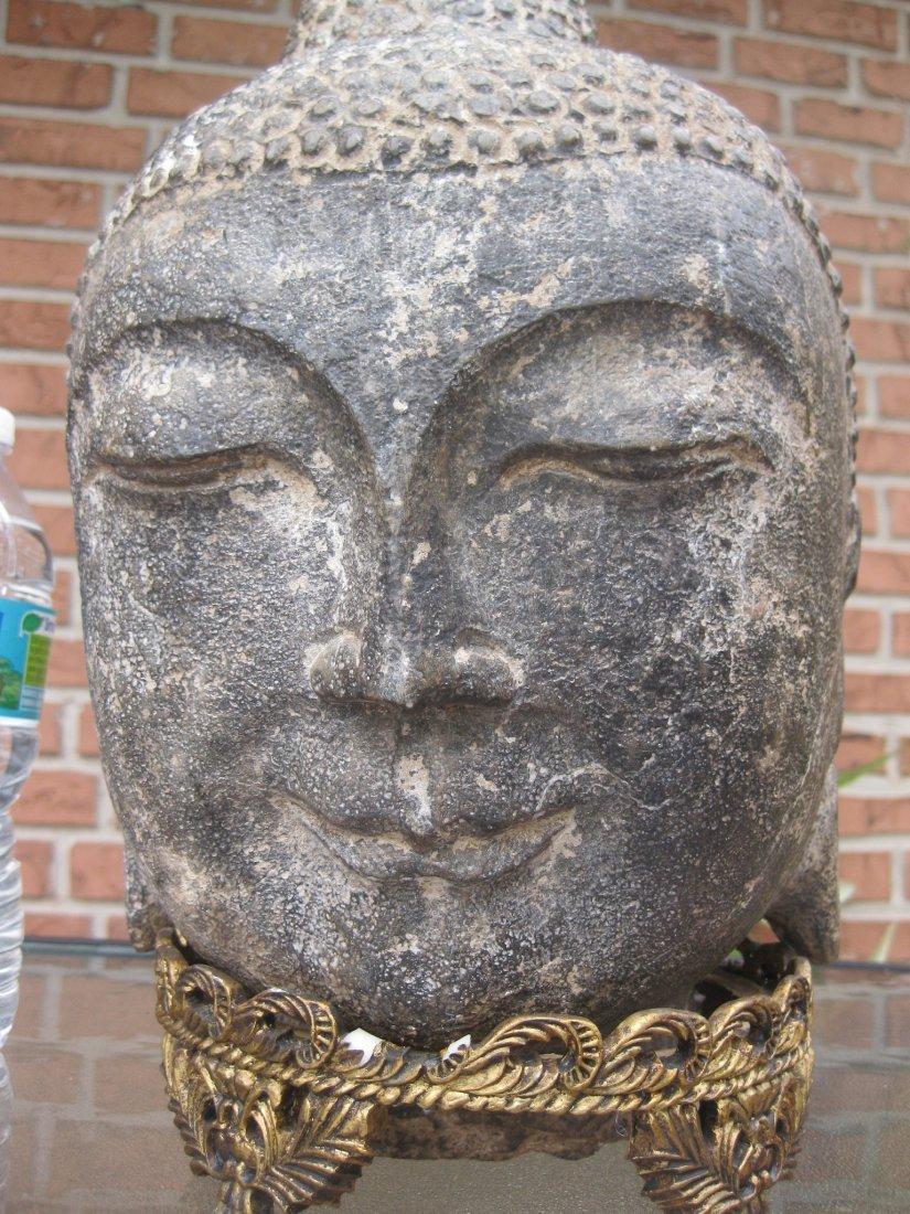 Carved stone Buddha Head, 18kg, Qing dynasty or earlier - 7