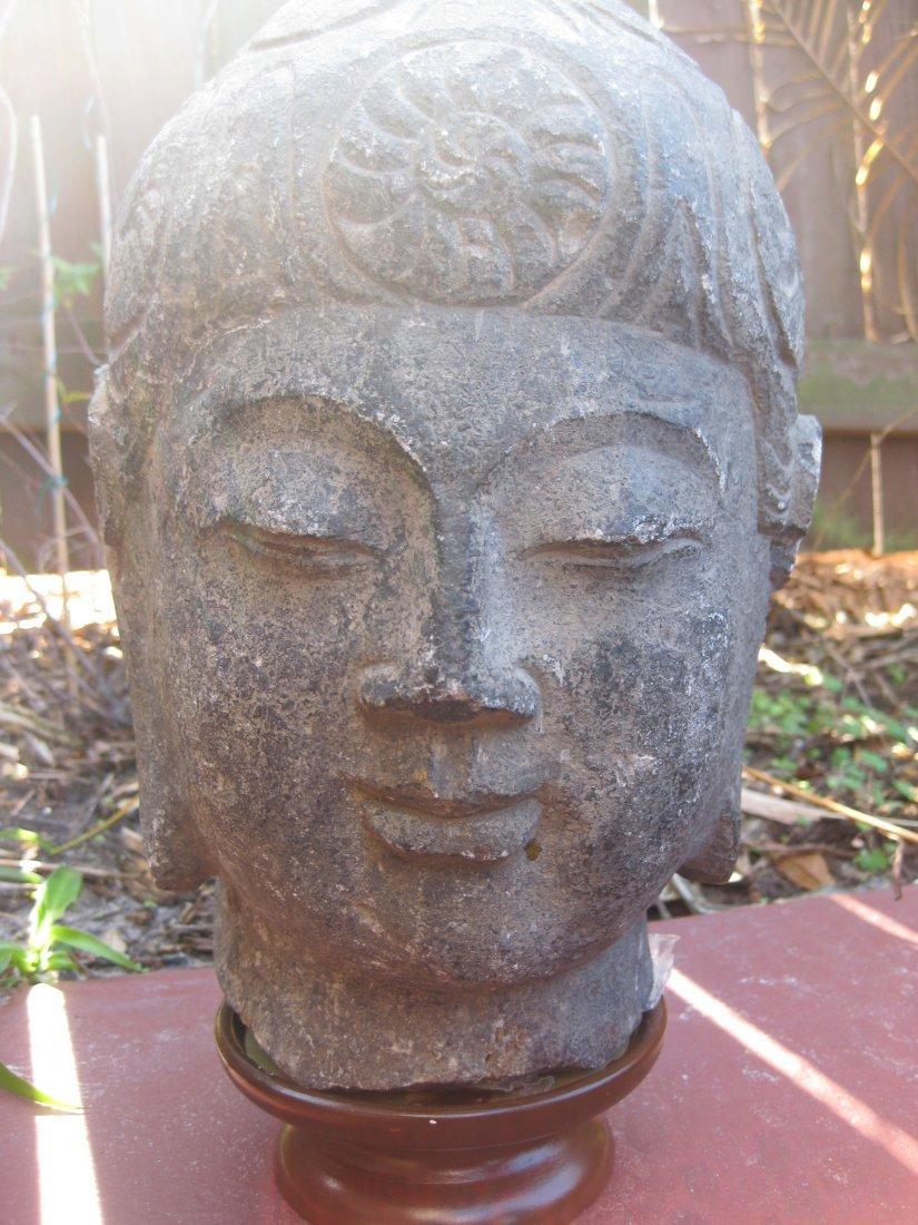Chinese stone Buddha Head, 7 wheels of life, Tang dynst
