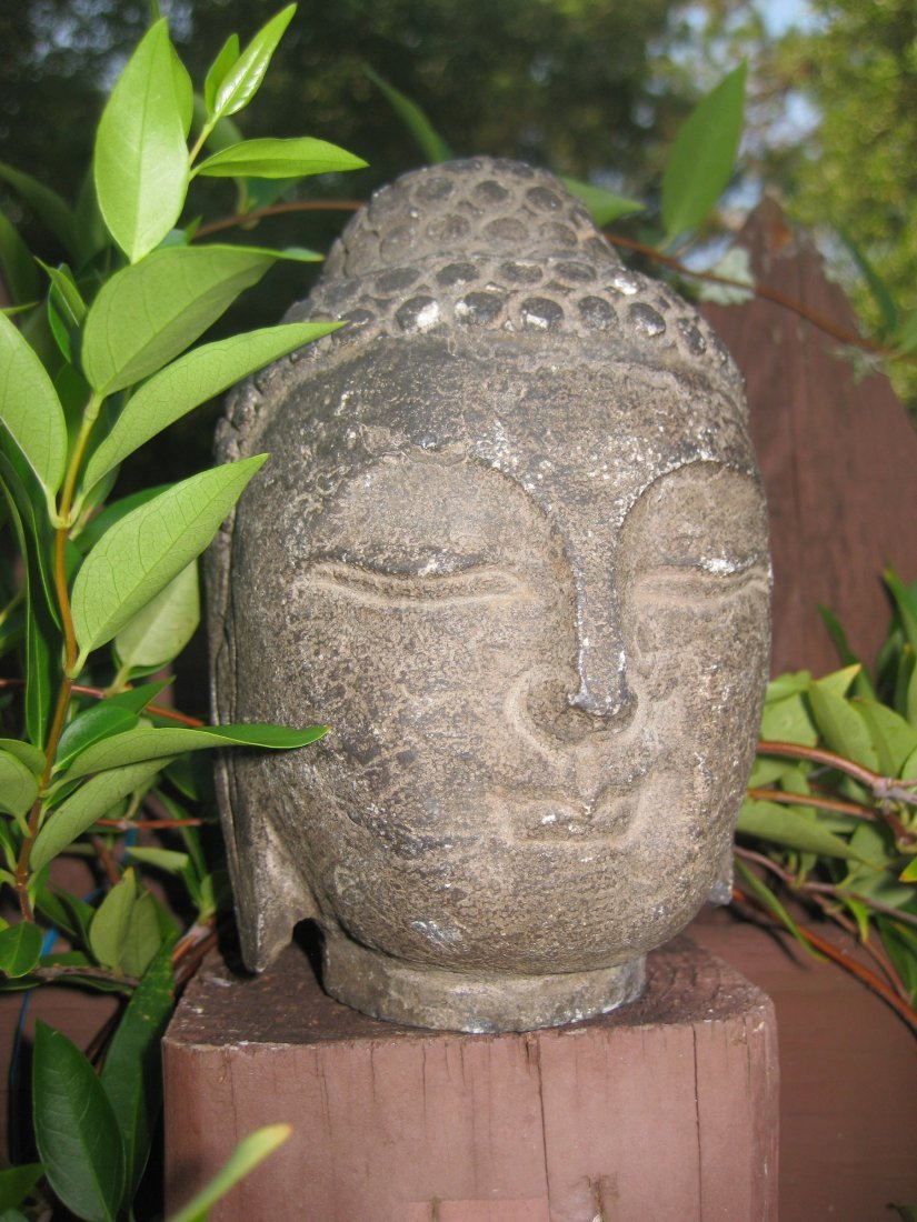 Small Antique Chinese carved stone Buddha Head, 3 lb.,