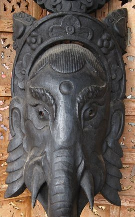 "carved wooden SRI GANESH Mask, Katmandu, Nepal, 30"""