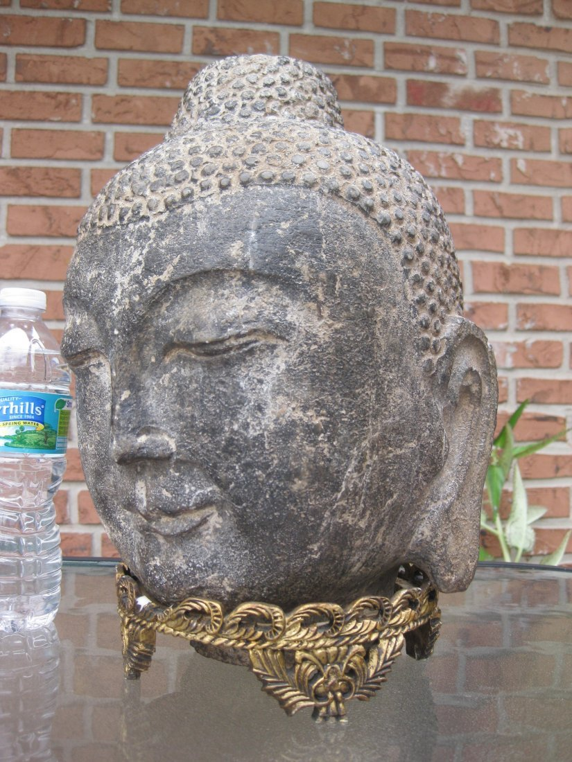 Carved stone Buddha Head, 18kg, Qing dynasty or earlier