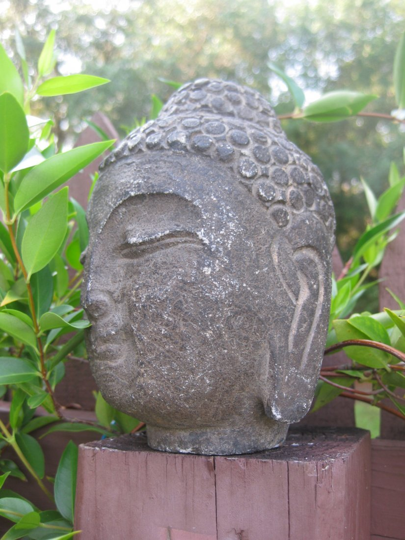 Small Antique Chinese carved stone Buddha Head, 3 lb., - 2