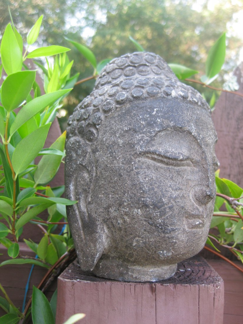 Small Antique Chinese carved stone Buddha Head, 3 lb., - 3