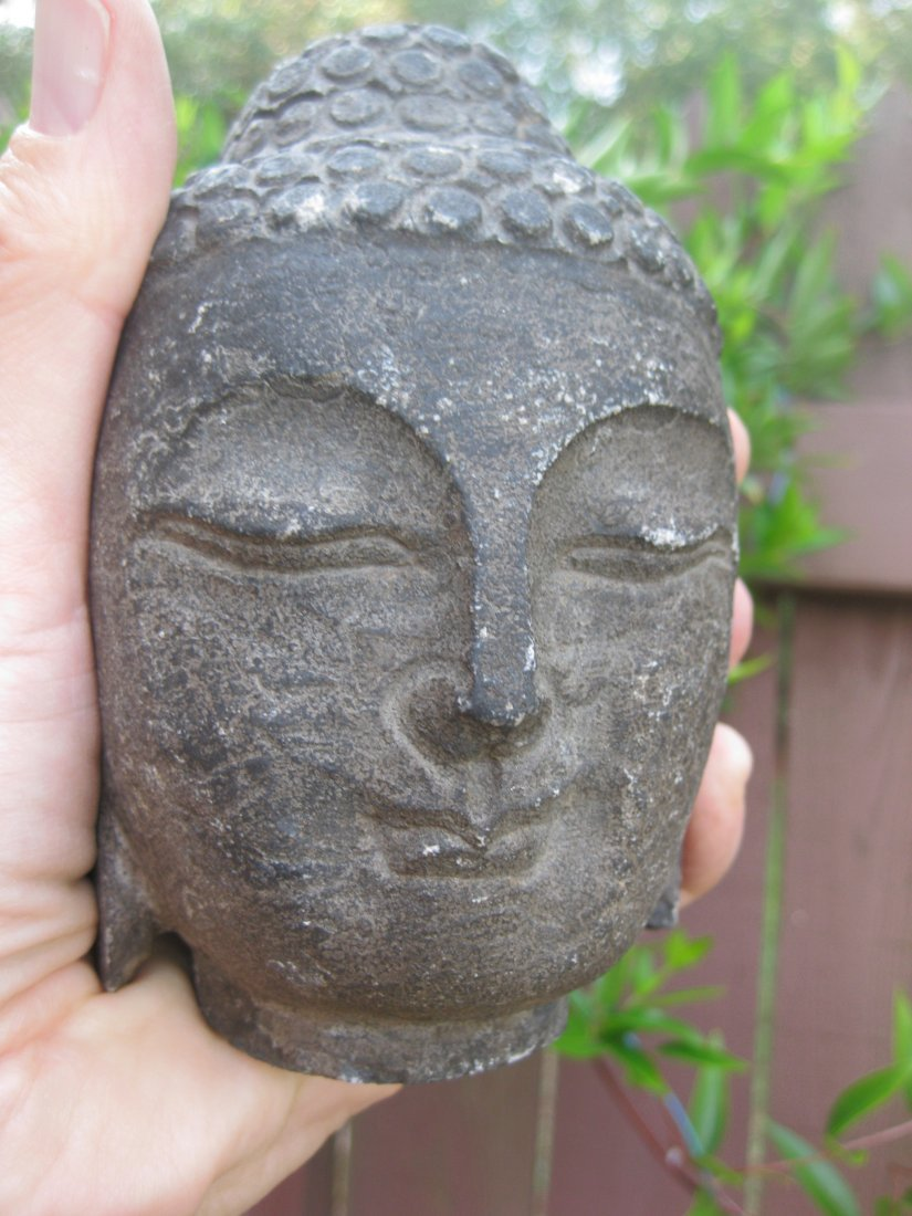 Small Antique Chinese carved stone Buddha Head, 3 lb., - 4