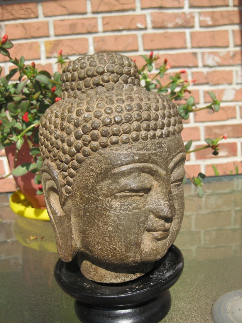 Chinese Carved stone Buddha head with red seal, 10 lb.,