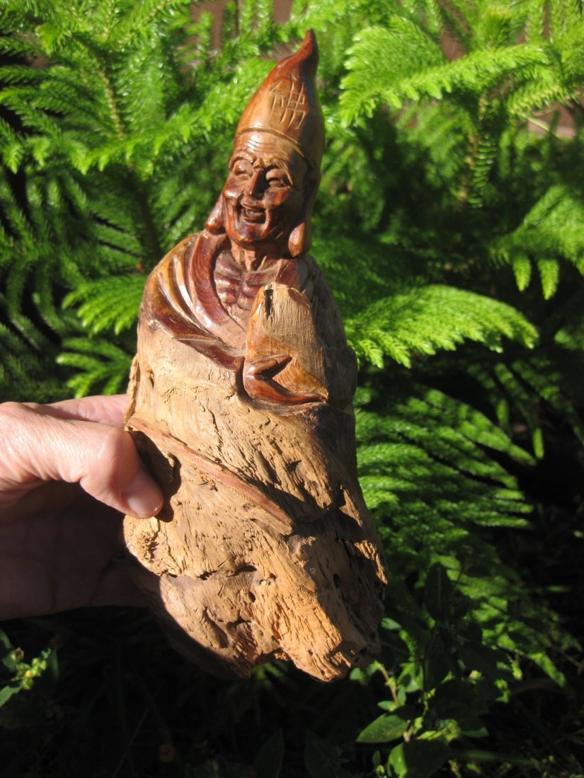 Chinese Tibetan Wooden carved Buddha as a Lama