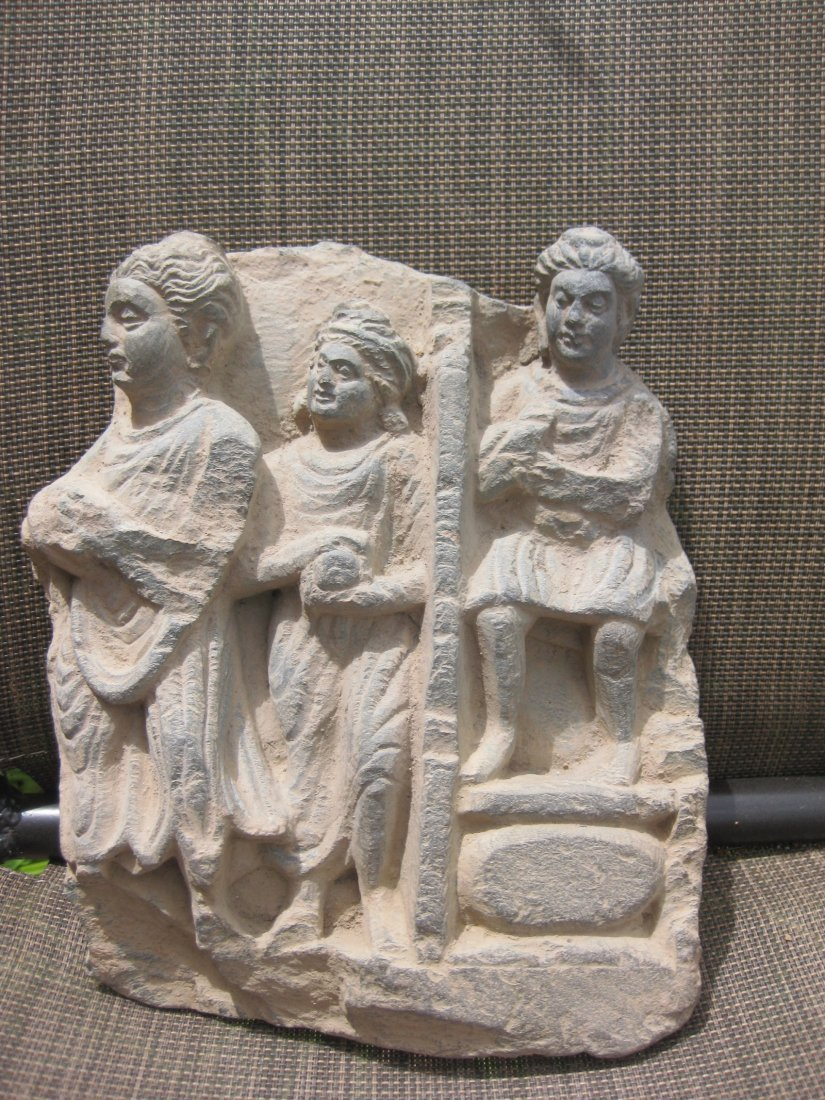 Gandhara, Devotees with gifts to Buddha, carved stone