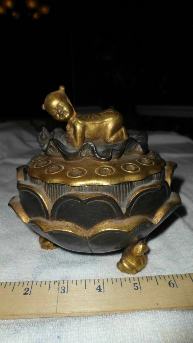 Chinese gilded bronze lotus incense burner, Qing dynas