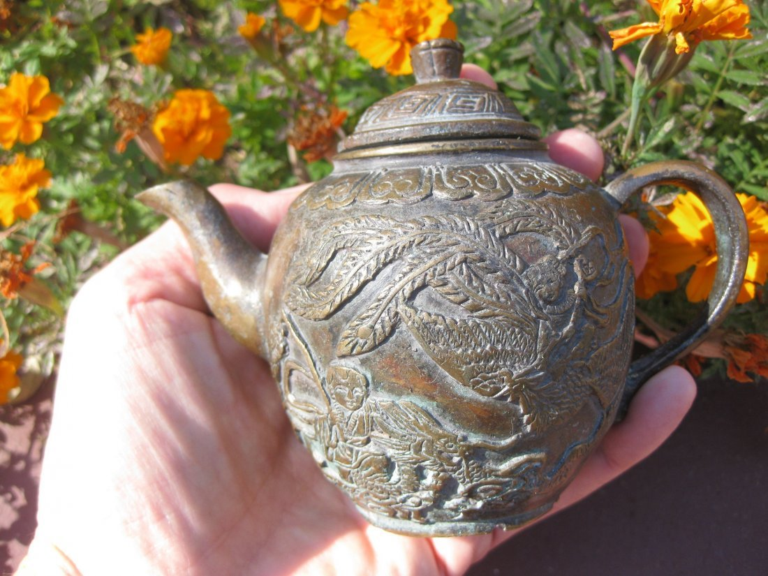 Chinese Antique Bronze Tea Pot, Qing Dynasty