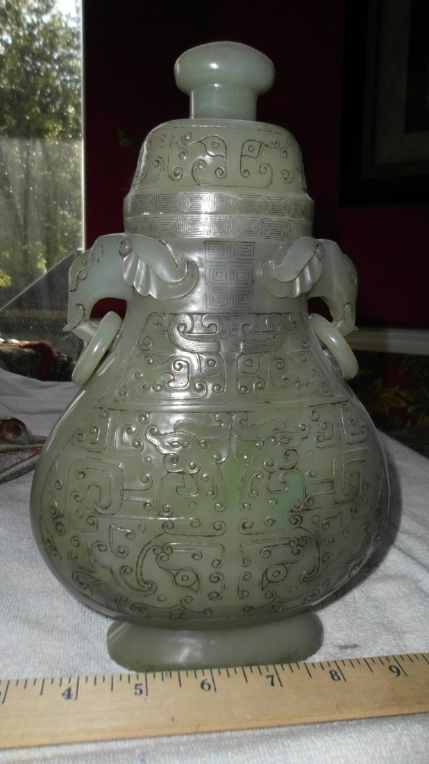 Qing/Ming dynasty Chinese jade spinach vase lid, 26 cm