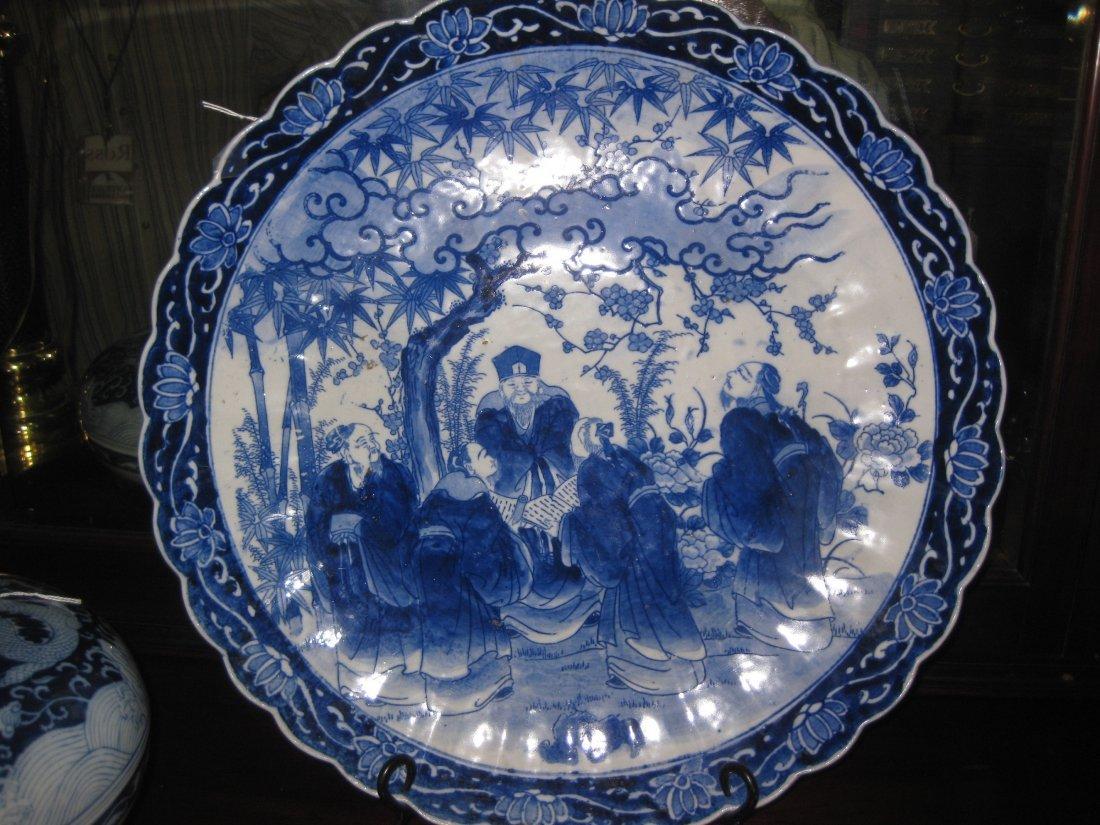 Huge Chinese Kangxi porcelain platter 5 scholars meetin