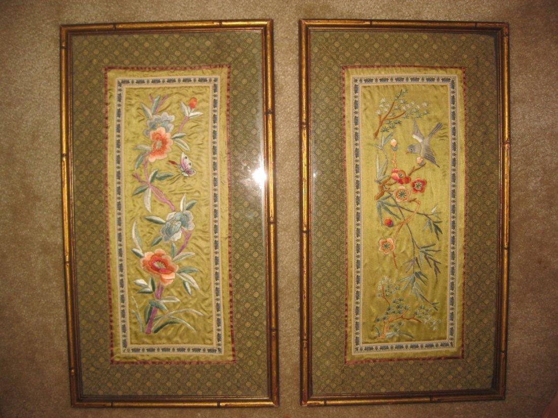 Chinese Forbidden Stitch Embroidery Silk Pair