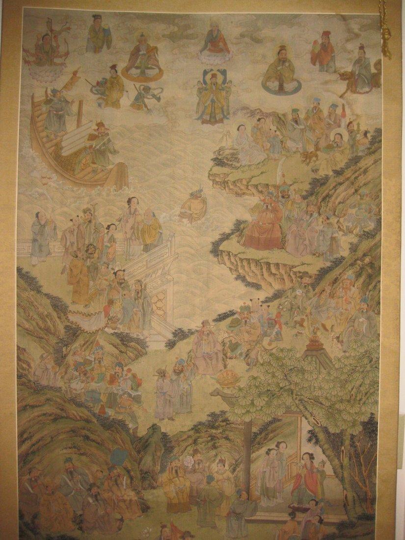 Chinese scroll Silk PAINTING,Taoist Deities, Xie Shiqin