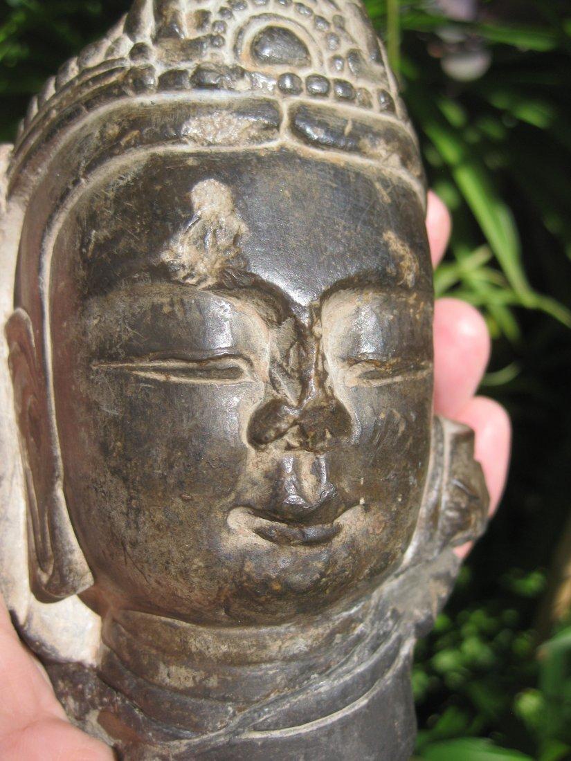 Chinese Bodhisattva carved stone head, 6th century AD,