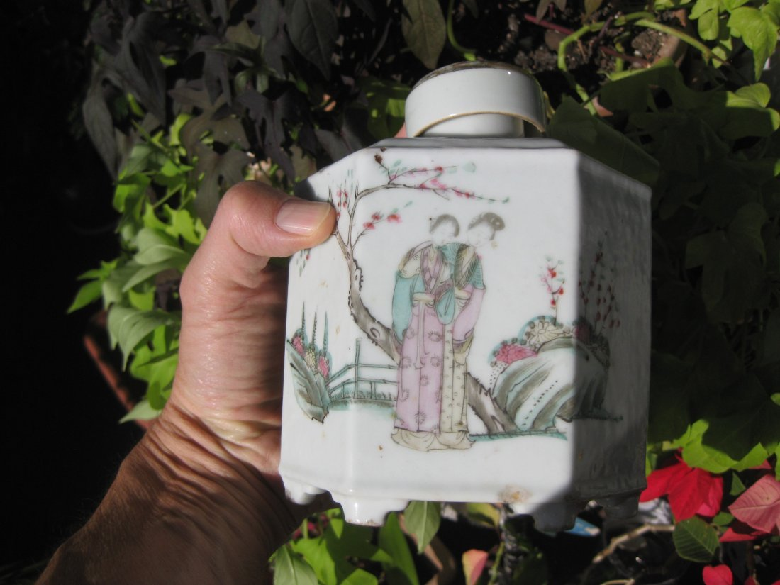 Chinese porcelain Dry tea Container poem, Qing Dynasty