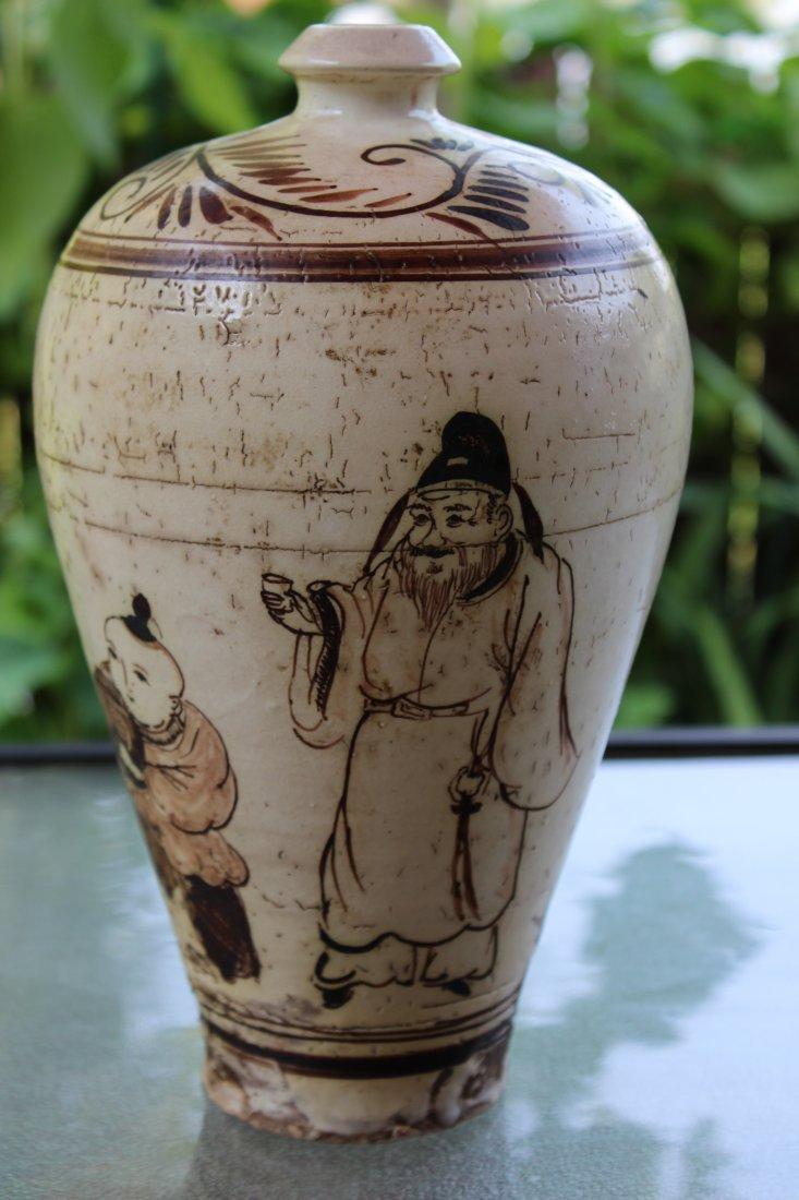Chinese porcelain Yuan dynasty Chizhou vase- Li Bai