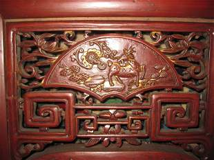 Qing d Chinese antique carved gilt red furniture, 201cm
