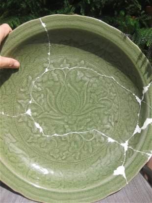 Longquan Celadon porcelain plate 42.5cm, China, Yuan Dy