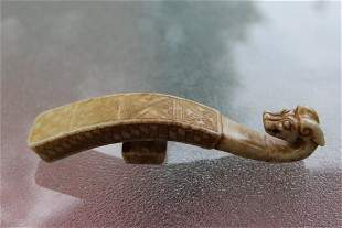 Certified Chinese carved Jade belt hook, 12 cm, E Zhou