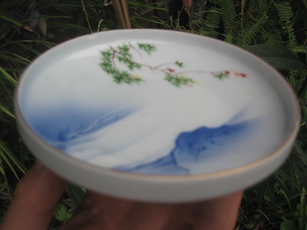 JAPANESE small plate with Mount. FUJI, Fukagawa mark - 10