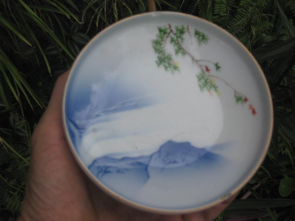 JAPANESE small plate with Mount. FUJI, Fukagawa mark