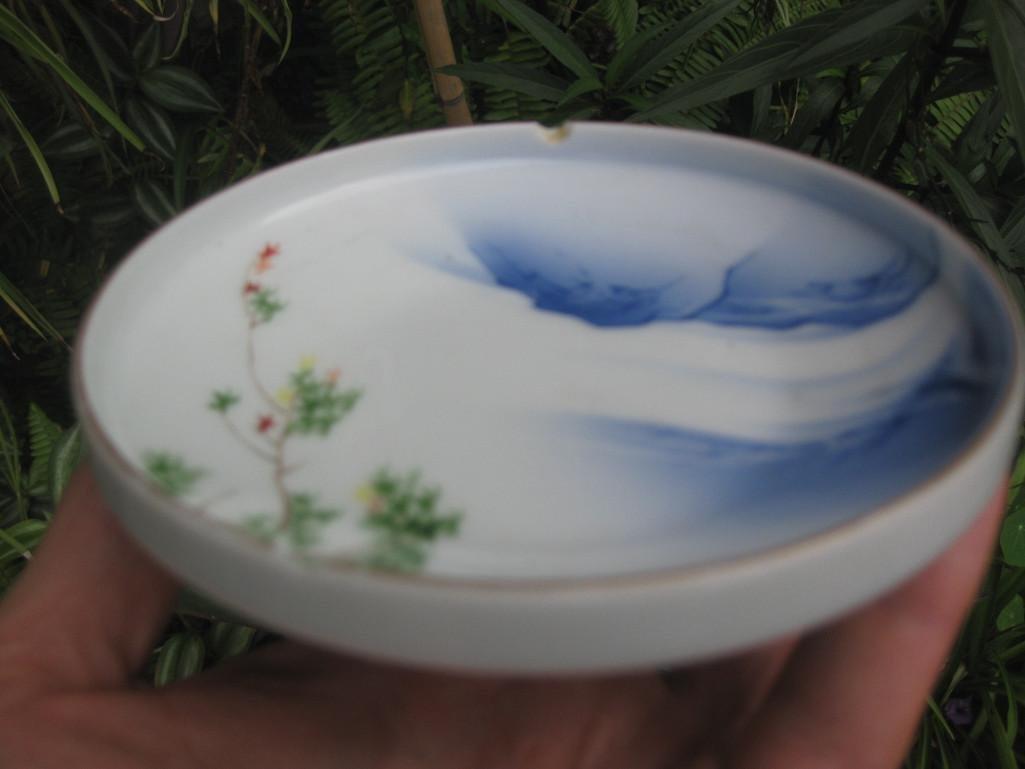 JAPANESE small plate with Mount. FUJI, Fukagawa mark - 2