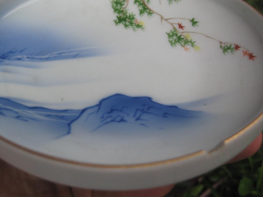 JAPANESE small plate with Mount. FUJI, Fukagawa mark - 3