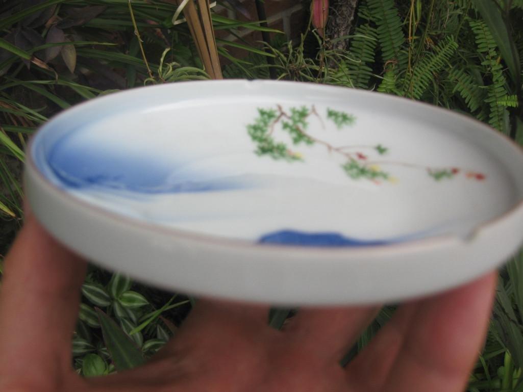 JAPANESE small plate with Mount. FUJI, Fukagawa mark - 7