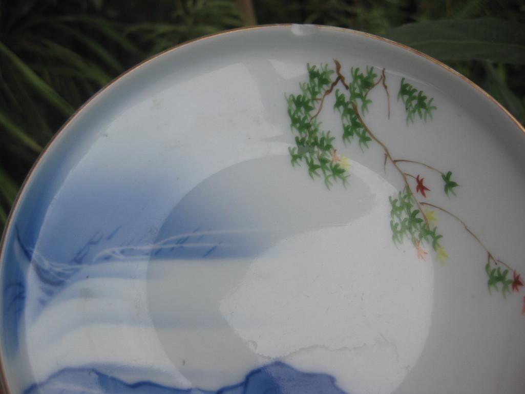 JAPANESE small plate with Mount. FUJI, Fukagawa mark - 8