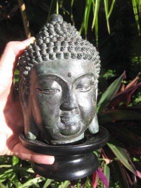 Chinese Cast Bronze Buddha Head
