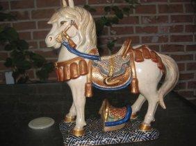 Museum Saddled Horse, Chinese Ming Early Glazed Ceramic