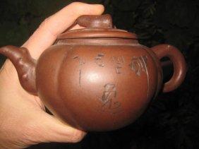Chinese Yixin Zisha Tea Pot W Cover & Characters