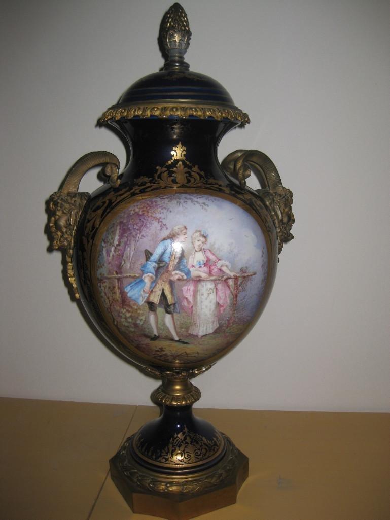 Sevres porcelain vase, with 2 bronze fauns, signed,19 c