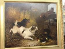 English oil on canvas painting, Dogs chasing a fox, Eng