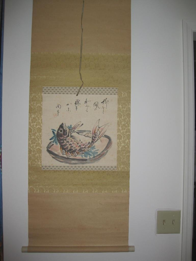 JAPANESE hanging scroll -Fish on plate, by Ueda Togy - 3