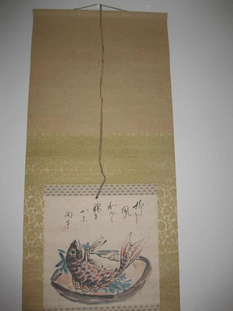 JAPANESE hanging scroll -Fish on plate, by Ueda Togy - 4