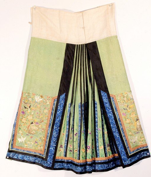 Antique Chinese Silk Skirt Embroidery