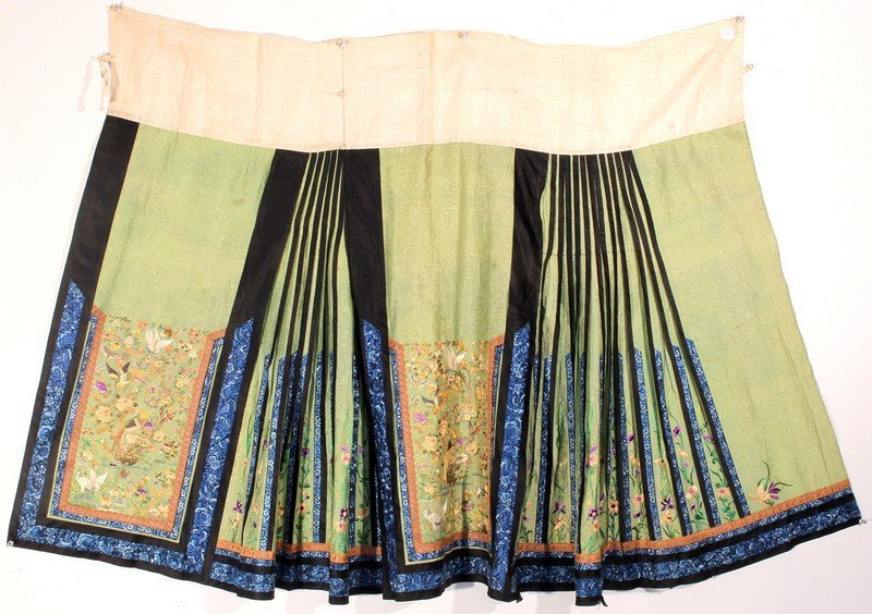 Antique Chinese Silk Skirt Embroidery - 6