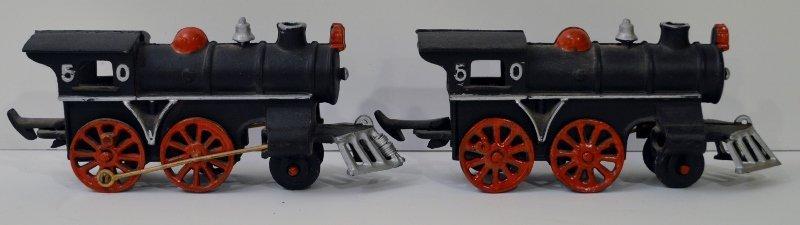2 Vintage Cast Iron Train Engine No.50