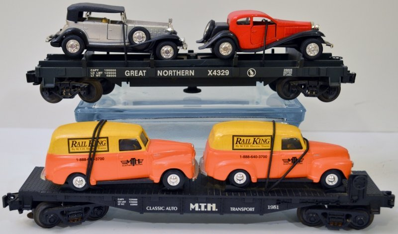 MTH RAIL KING X4329 O/O27 FLAT CAR & MTH 1951 O/O27 FLA