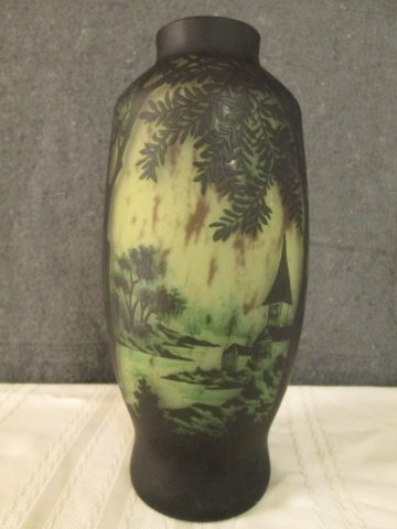 """AFTER GALLE CAMEO GLASS 11"""" LAKE SCENE VASE"""