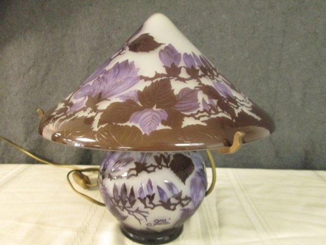 AFTER GALLE FRENCH CAMEO GLASS LAMP W/FLORAL SCENE