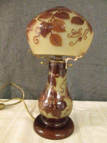"""AFTER GALLE FRENCH CAMEO GLASS 11"""" LAMP"""