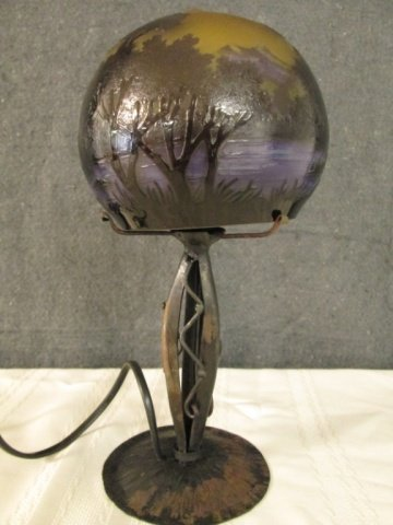 """AFTER GALLE CAMEO GLASS SIGNED 11"""" LAMP"""