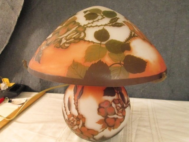 """AFTER GALLE FRENCH CAMEO GLASS SIGNED 13.5"""" LAMP"""