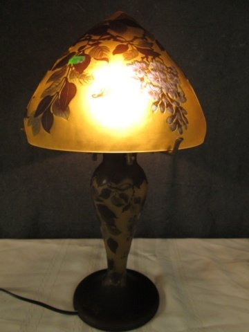 """AFTER GALLE  FRENCH CAMEO GLASS SIGNED LAMP 18"""""""