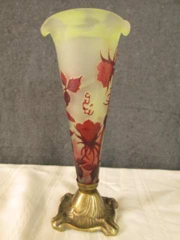 """AFTER GALLE FRENCH CAMEO GLASS 8"""" SIGNED VASE"""