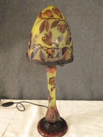 """AFTER GALLE FRENCH 19"""" MUSHROOM CAMEO GLASS LAMP"""