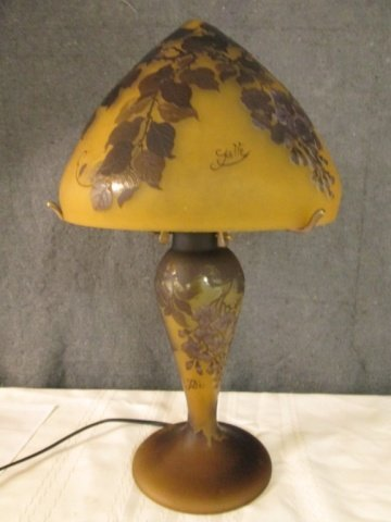 AFTER GALLE FRENCH CAMEO GLASS ARTIST SIGNED LAMP