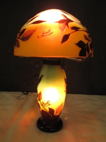 """AFTER GALLE FRENCH CAMEO GLASS SIGNED 11"""" LAMP"""